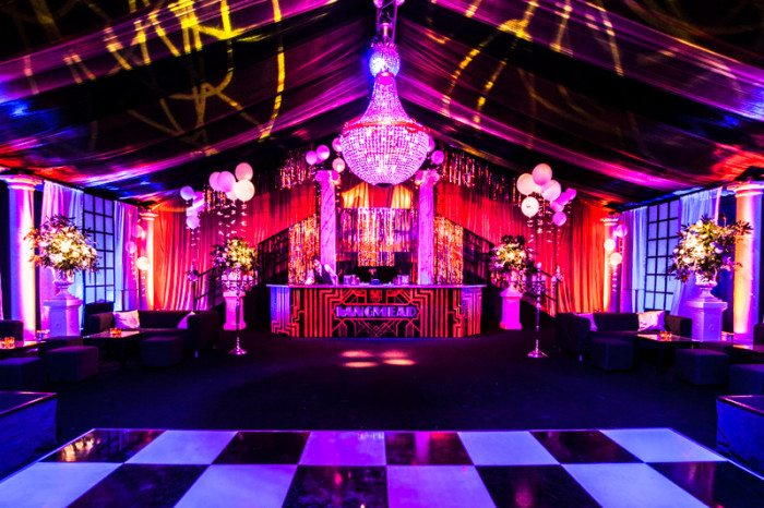 1920s Gatsby themed party interior dance floor and bar