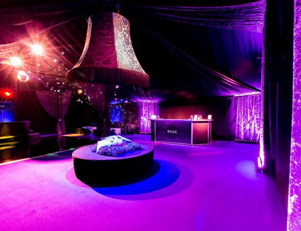 Rage NightClub Interior with Chandelier, Bar And Seating
