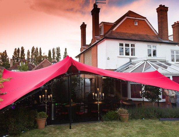 Coloured Stretch Tent Exterior At 1940s Party
