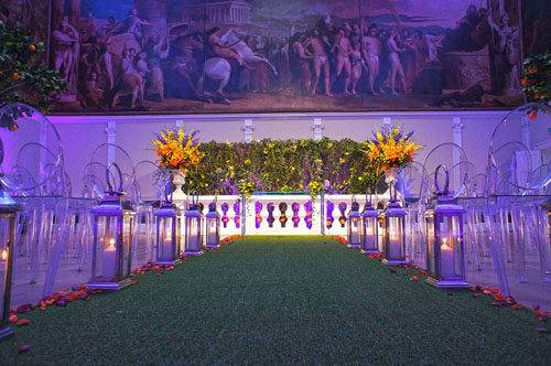 colourful London wedding aisle