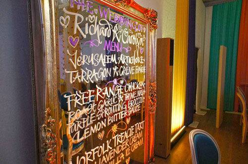 colourful London wedding menu