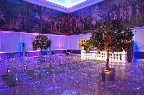 colourful London wedding setup