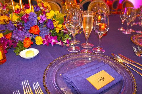colourful London wedding table setting