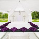 Draped party marquee in white