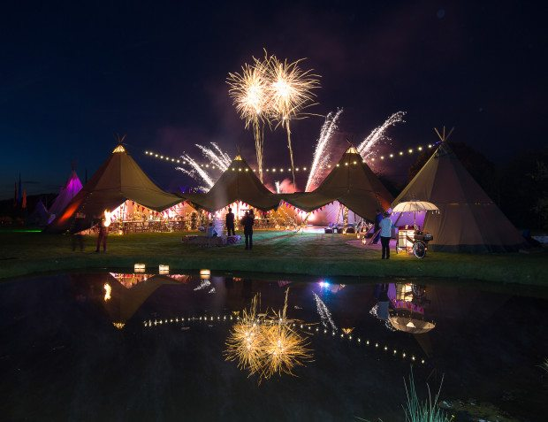 Giant Tipis With Fireworks