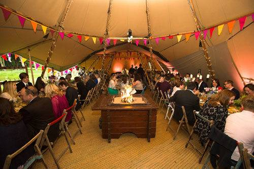 festival themed tipi interior