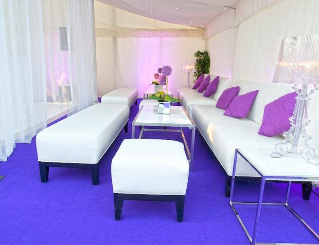 Purple And White Party Styling