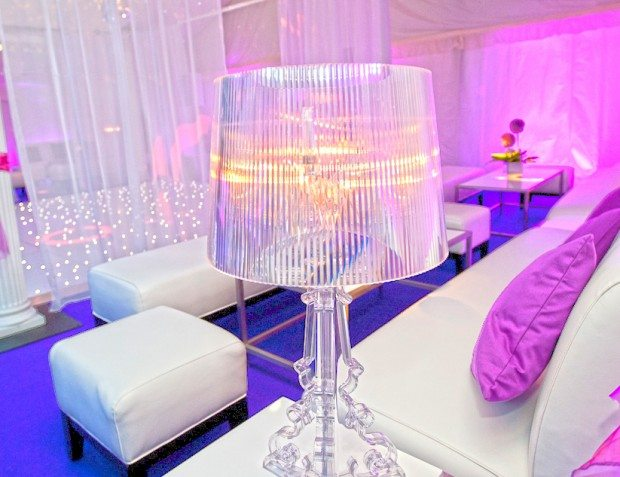 Party Interior with Lampshade and Pink and White Styling
