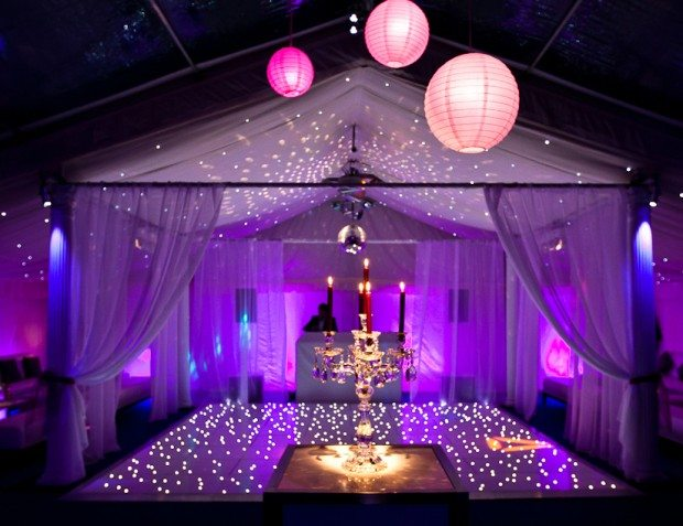 arty Interior With Lit Up Dance floor And Draping