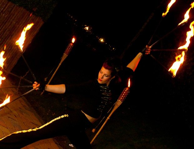 Fire Dancer At Private Party