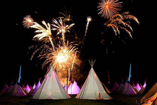Party fireworks over tepees