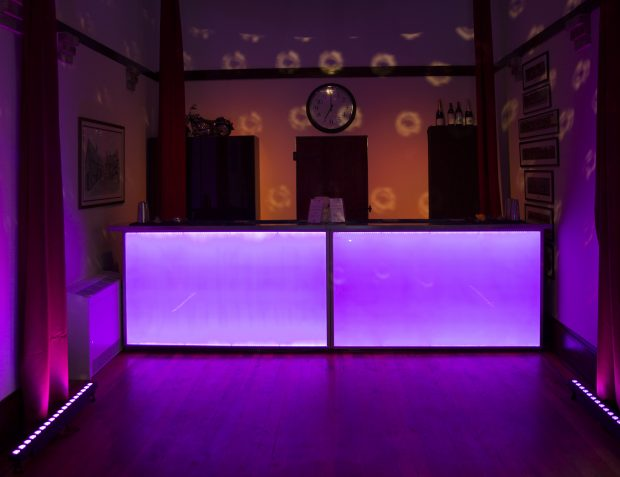 Lit Up Bar At Burlesque Themed Party