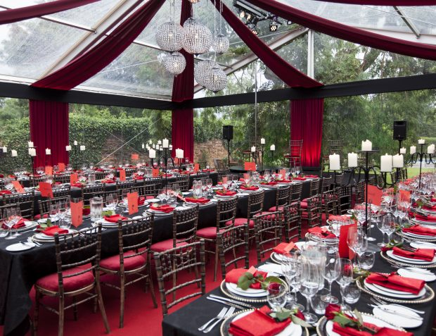 Interior Styling And Table Settings At Burlesque Themed Party