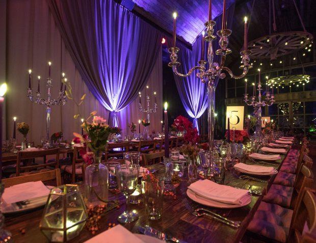 Table setting, lighting and draping