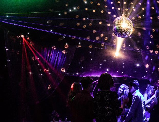 The Rage pop-up nightclub interior mirror ball