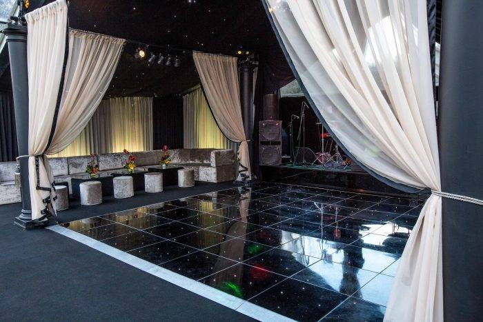 Private Party Marquee with Dance Floor, Stage and Draping