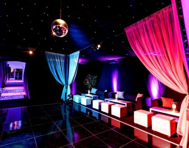 Interior cool dance party marquee