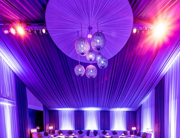 Chandelier in private party marquee