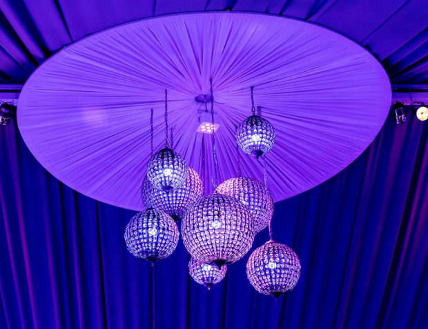 Draping with Hanging Chandelier Balls