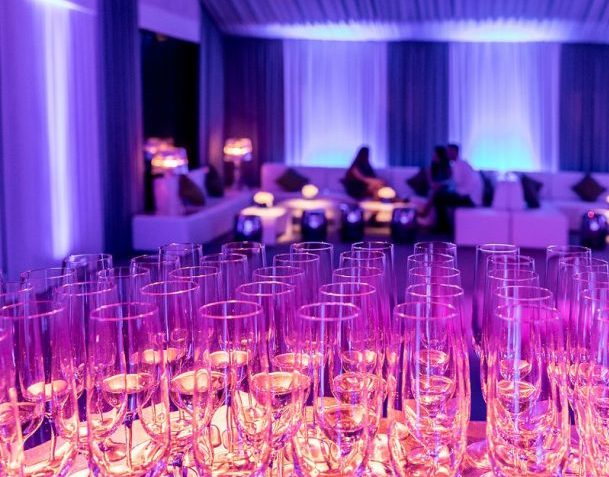 Champagne bar at private marquee party
