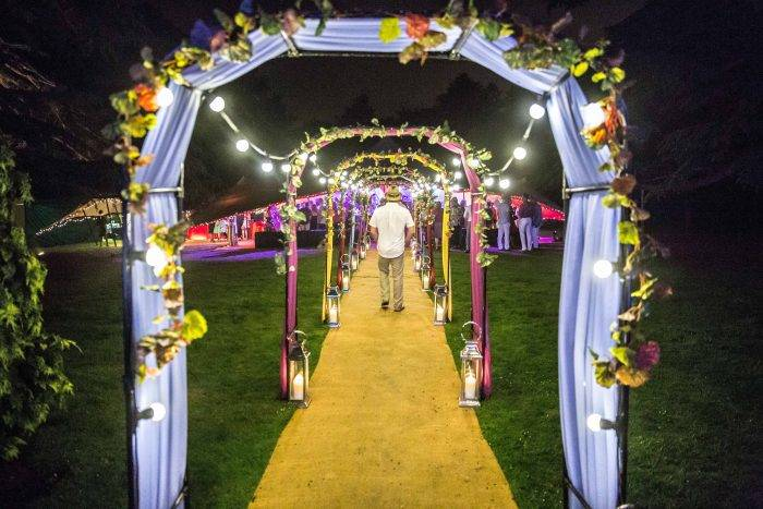 Havana Nights Party Entrance with Colourful Draping