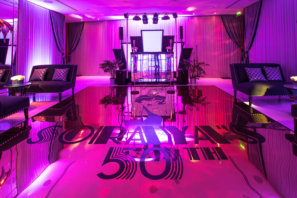 Bespoke gold-mirrored monogrammed dance floor