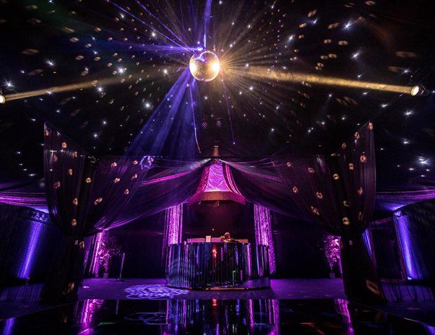 Mirror ball inside The Rage Pop-Up Nightclub by Mirage Parties