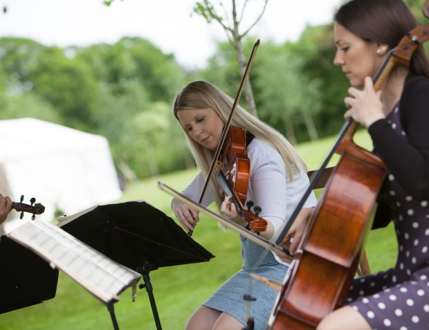 string quartet entertainment at summer garden party