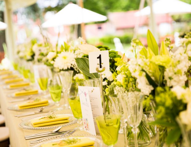 Green And White Table Settings