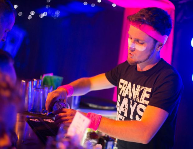 Bar tender wearing 80's Frankie Says Relax t-shirt