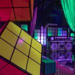 80s Rubik's cube and boombox party props