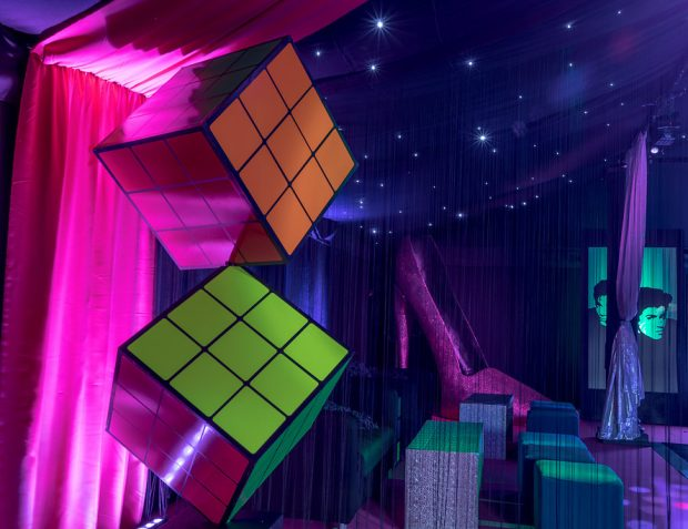 Rubik's cube 80s themed party props