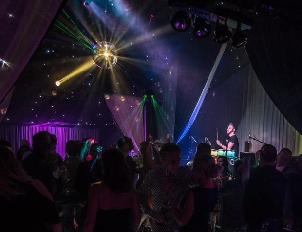 Stage and dance floor with guests