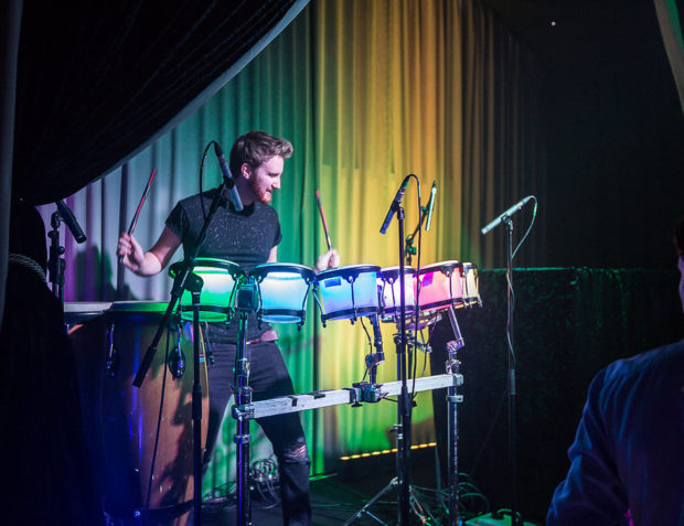 LED percussionist on stage at private party in Essex