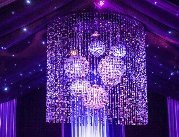 Marquee styling chandelier and draping
