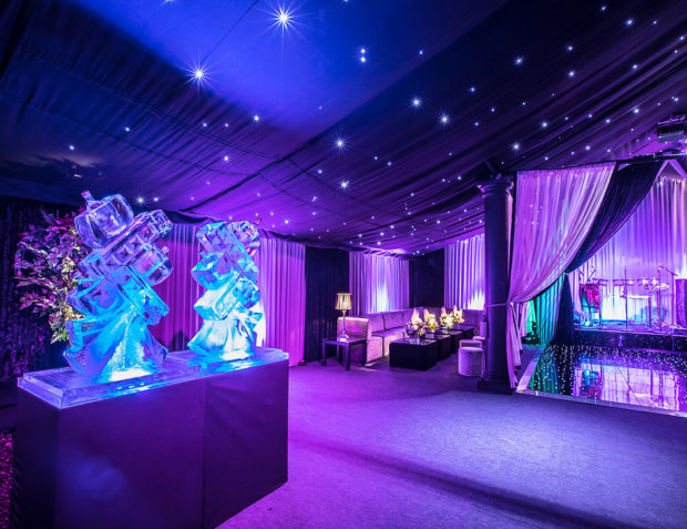 Marquee interior with vodka ice luges