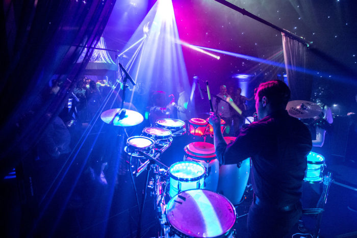Interior luxury pop-up nightclub marquee with LED percussionist