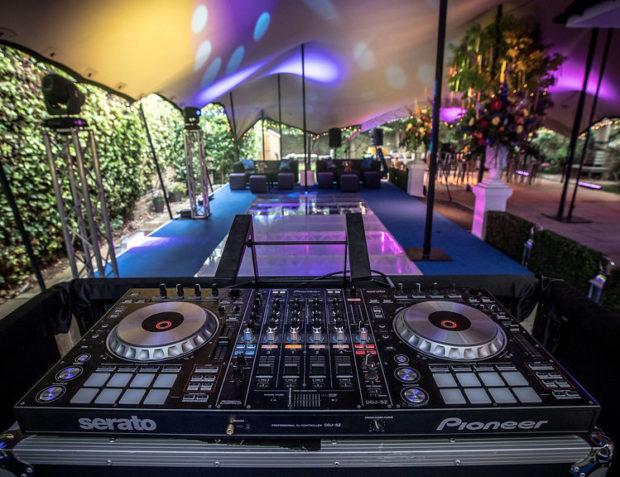 DJ decks inside Stretch tent