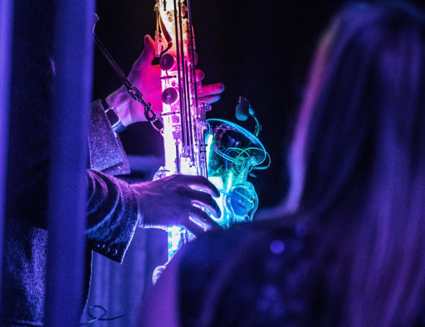 LED saxaphone at Oceans 11 themed party