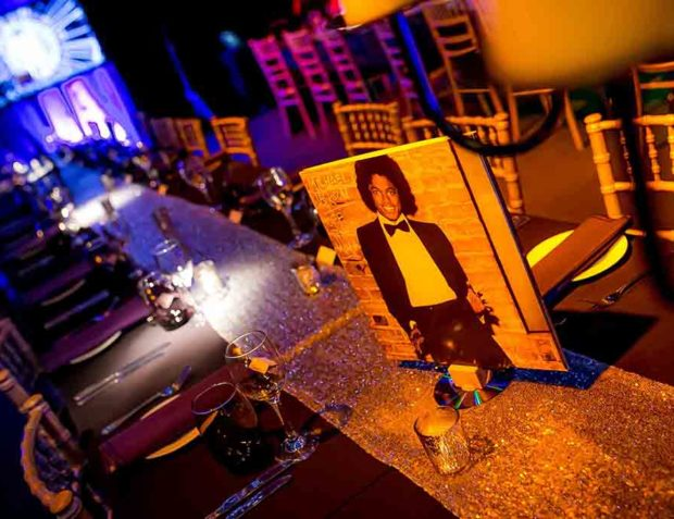 Dining Table with Michael Jackson Record Cover at Studio 54 Themed Party