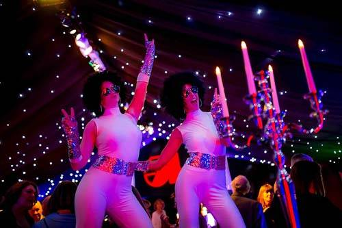 Studio 54 stilt dancers at a private birthday party
