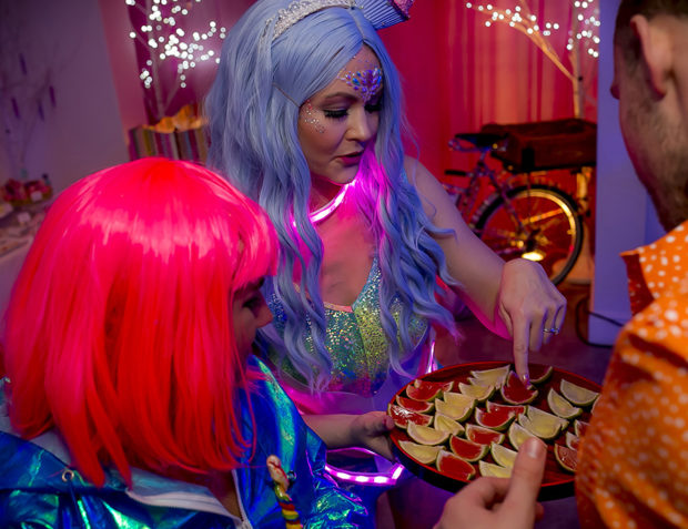 Guests enjoy alcoholic jellies at Katy Perry California Gurls Themed Party