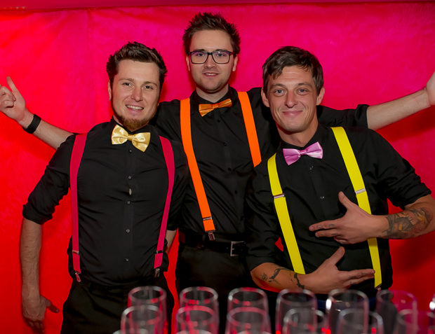 Three cocktail barmen dressed in theme for Katy Perry California Gurls London Party
