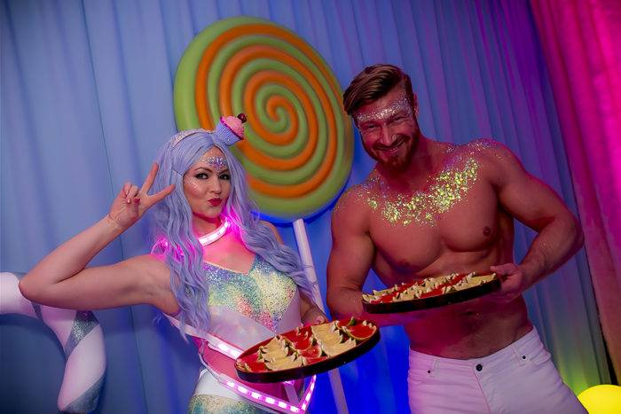 Meet and greet entertainers at Katy Perry California Gurls Themed Party