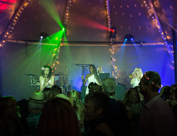 Party Band on Stage at Festival Themed Birthday Party