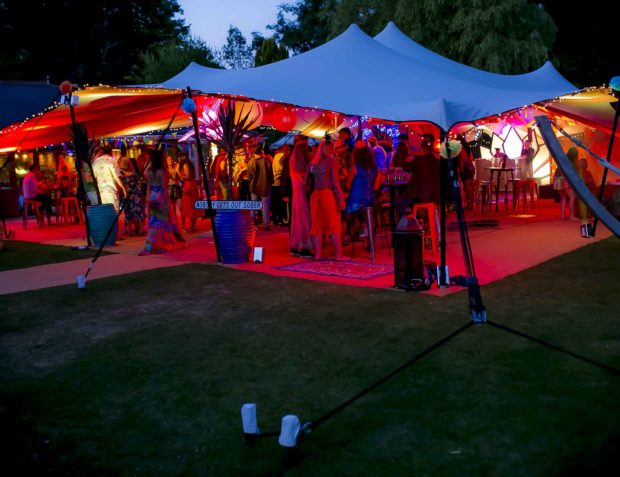 Carnival themed party marquee at night