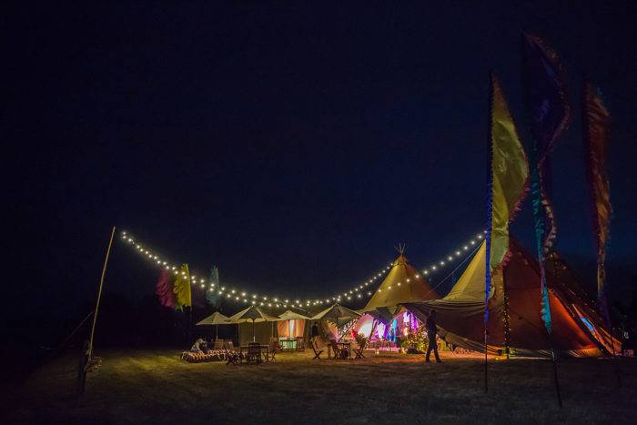 Tipi Garden Party at Night with Festoon Lighting