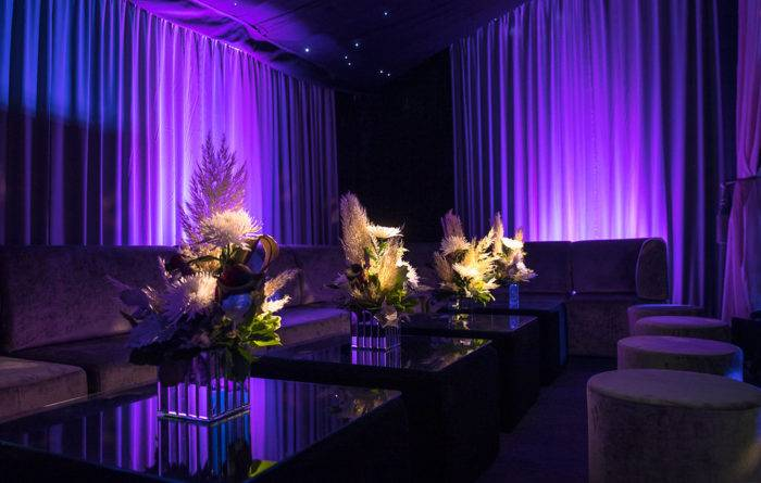 Interior marquee styling - draping, lighting, floristry and high-end furniture