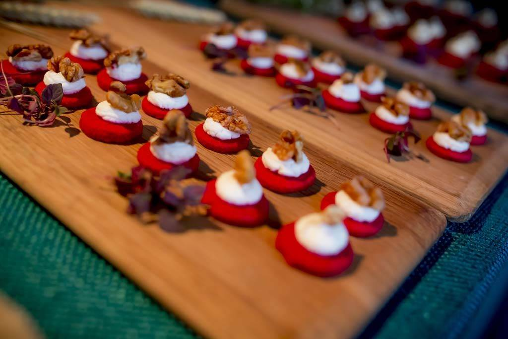 Party canapés on wooden trays