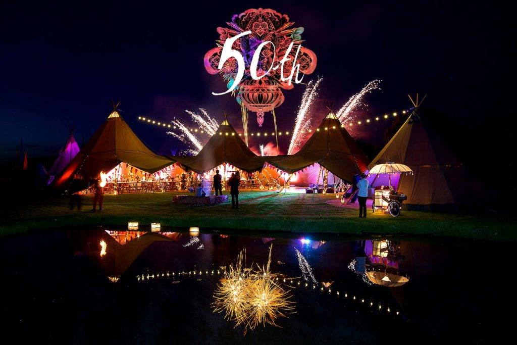 50th birthday party in tipis with a firework display
